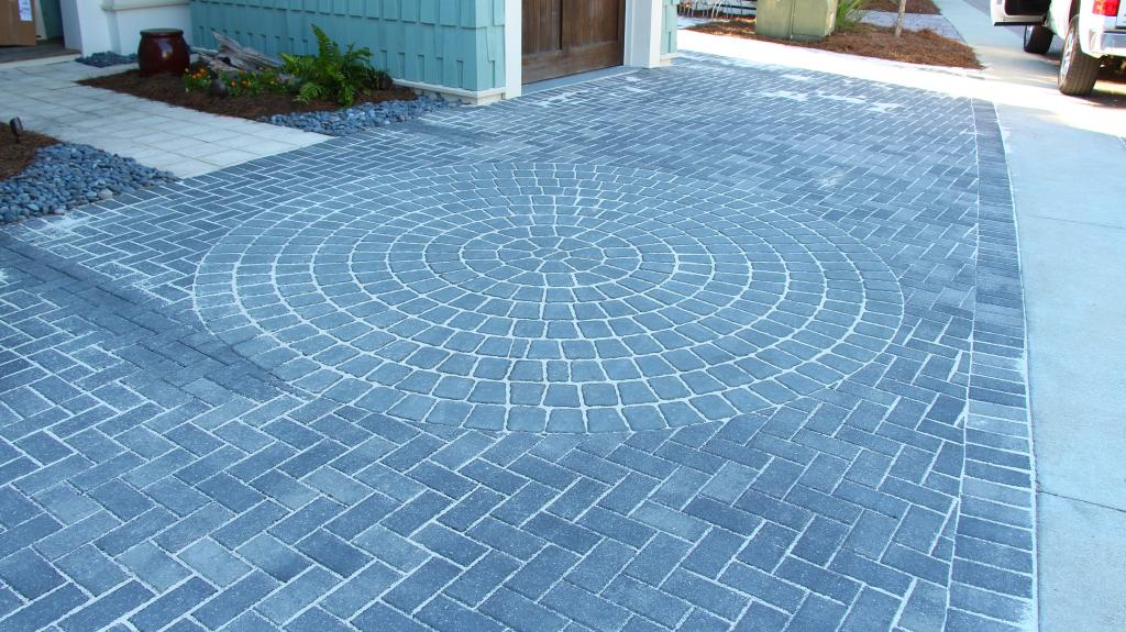 Look at this creative hardscape design work on this driveway in Destin, FL